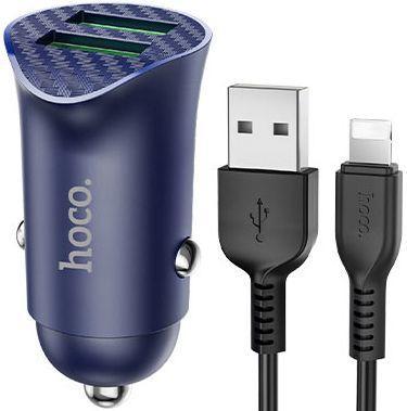 Автомобільний зарядний пристрій з підтримкою Quick Charge 3.0 Hoco Z39 Farsighted 18W 3.4 A + Lightning Cable