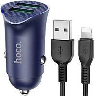 Автомобільний зарядний пристрій з підтримкою Quick Charge 3.0 Hoco Z39 Farsighted 18W 3.4 A + Lightning Cable, фото 1
