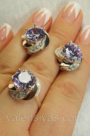 Серебряные украшения с золотыми вставками и красивым камнем, фото 2
