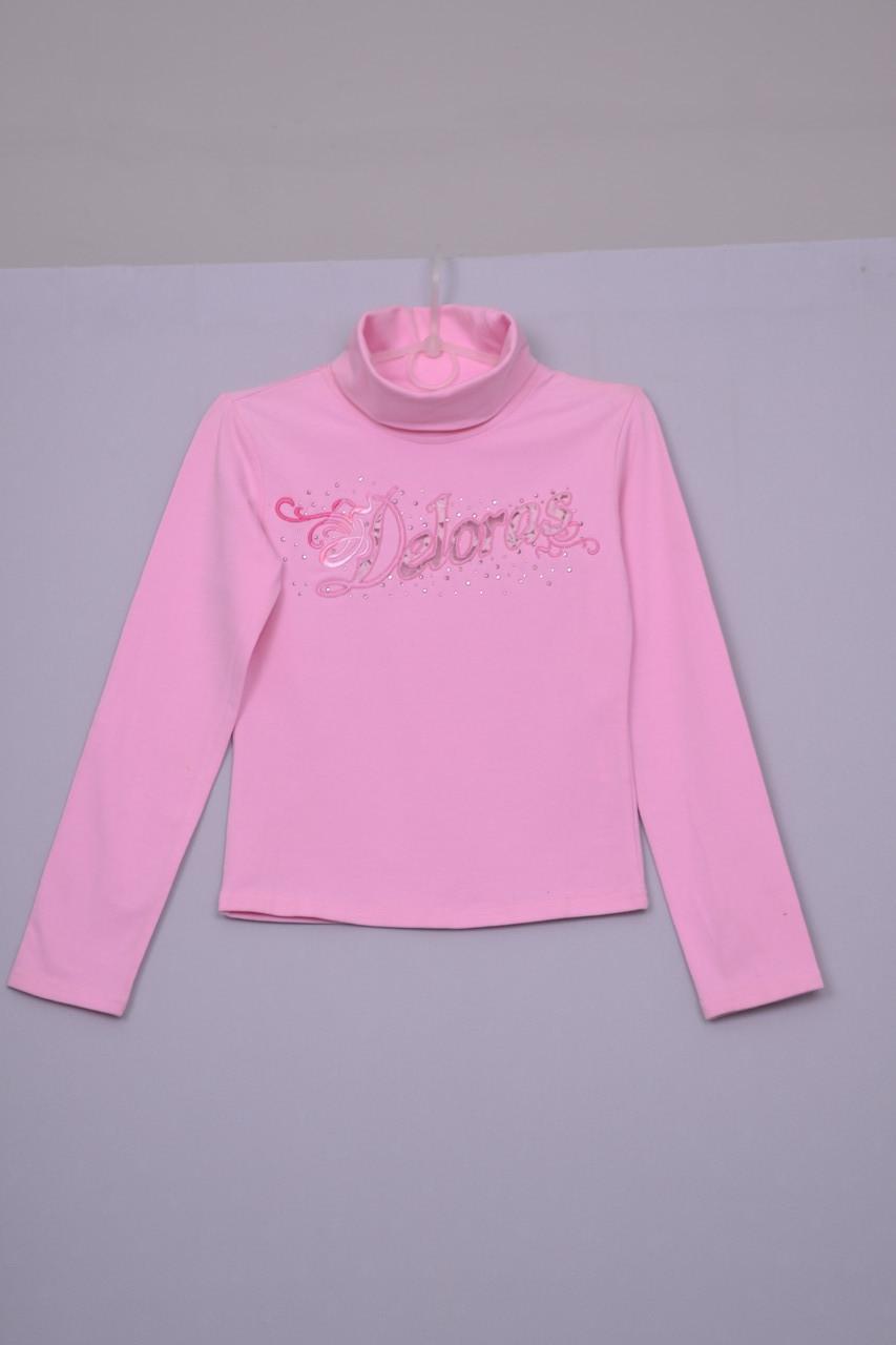 Л-263 Свитер гольф для девочки  белый и розовый розовый, 128 140 и 146 рост