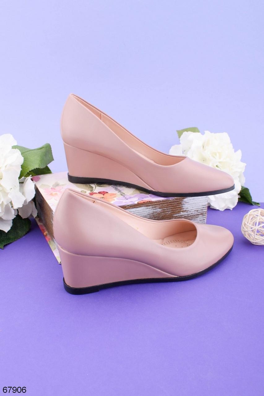 Стильные туфли женские на танкетке розовые эко-кожа