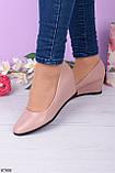 Стильные туфли женские на танкетке розовые эко-кожа, фото 2