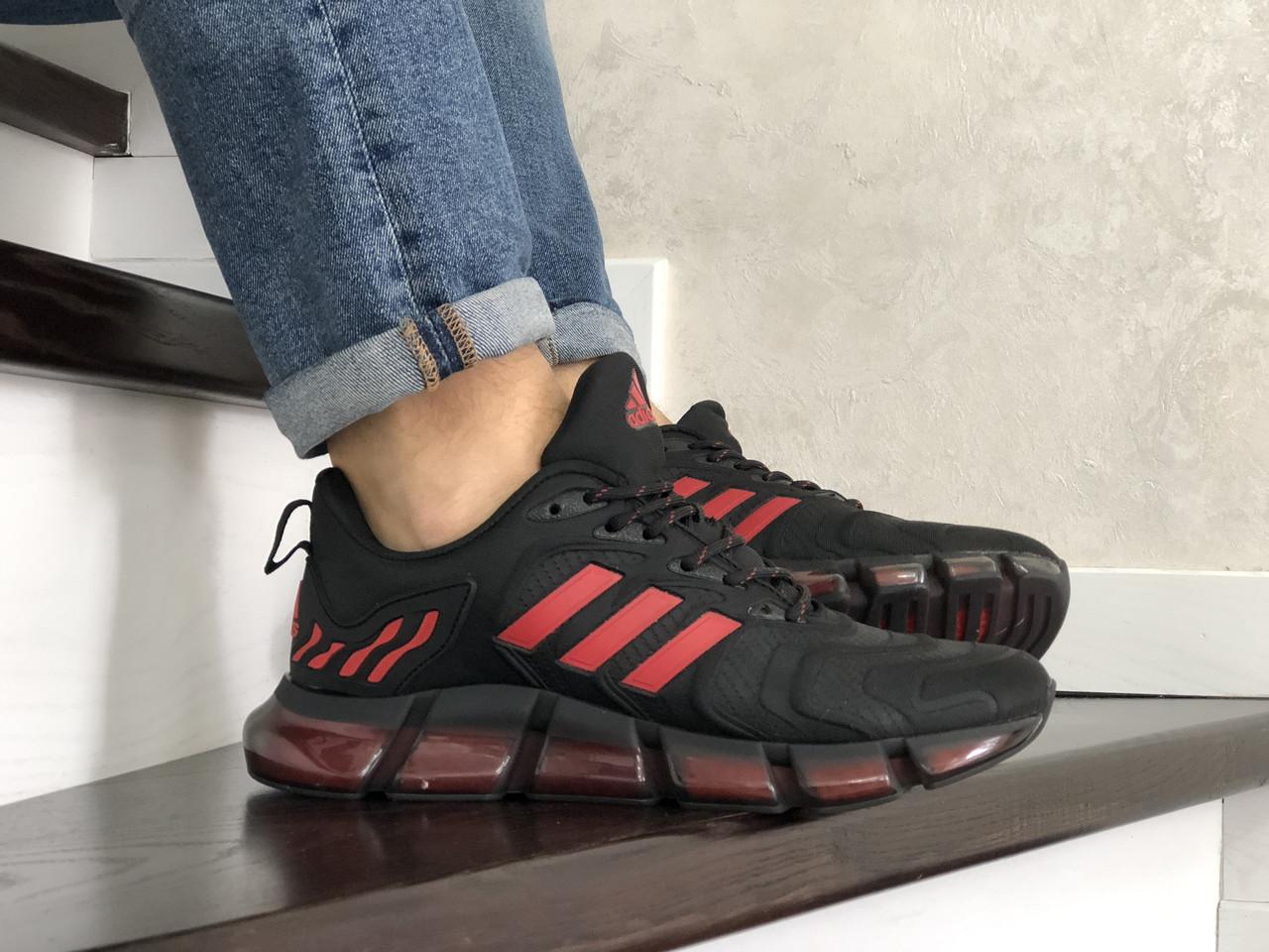 Мужские весенние кроссовки Adidas,черные с красным