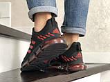Чоловічі весняні кросівки Adidas,чорні з червоним, фото 2