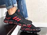 Чоловічі весняні кросівки Adidas,чорні з червоним, фото 3