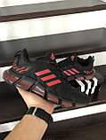 Чоловічі весняні кросівки Adidas,чорні з червоним, фото 4