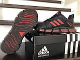Чоловічі весняні кросівки Adidas,чорні з червоним, фото 5