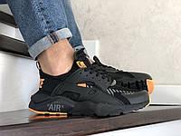 Мужские кроссовки Nike Air Huarache,черные с оранжевым, фото 1