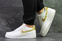 Демісезонні кросівки Nike Air Force 1 CR7, білі з золотим, фото 1