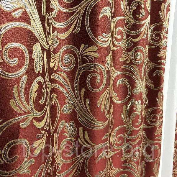 Готові жакардові штори Штори з люрексом Жакардові штори бордові Штори на тасьмі