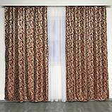 Готові жакардові штори Штори з люрексом Жакардові штори бордові Штори на тасьмі, фото 2