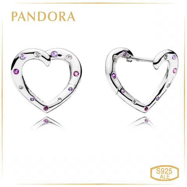 Пандора Серьги-кольца Яркие сердца Pandora 297231NRPMX