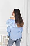 Жіноча святкове блузка біла блакитна з мереживом розмір: 48-50, 52-54, 56-58, фото 3