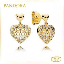 Пандора Серьги «Кружево и соты» Позолота Shine Pandora 267068CZ