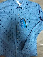 Рубашка приталенная, голубая, одежда для мальчиков 116-146
