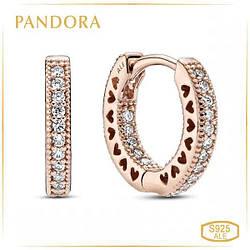 """Пандора Серьги-кольца """"Логомания"""" Rose Pandora 286317C01"""