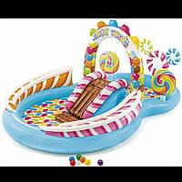 Детский надувной игровой центр Интекс Intex Территория сладостей с горкой и фонтаном 57149