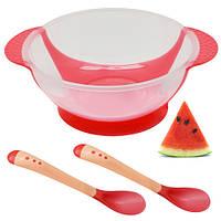 Посуда детская с присоской силиконовой (тарелка, ложка, вилка)