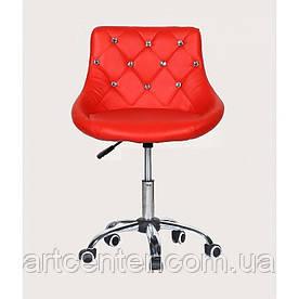 Косметичне крісло Zara, на колесах, регулюється по висоті, кожзам червоний