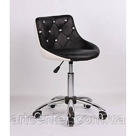 Косметичне крісло Zara, на колесах, регулюється по висоті, кожзам чорно-білий