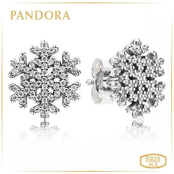 Пандора Серьги-пусеты снежинки Pandora 290589CZ