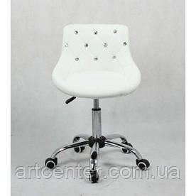 Косметичне крісло Zara, на колесах, регулюється по висоті, кожзам білий