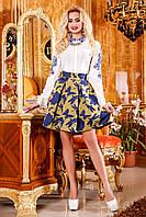 Яскрава, ніжна спідниця зі стильним орнаментом, жаккард, кльош, 42-46 розмір, фото 1