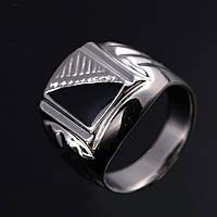Перстень печатка диагональ покрытие платиной 18К