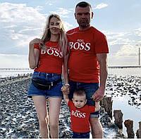 Футболки в стиле Family look для мамы, папы и ребенка - mama , papa , mini BOSS