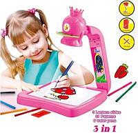 Детская складная доска для рисования с проектором и слайдерами многоразовая платформа для рисунков розовый 851