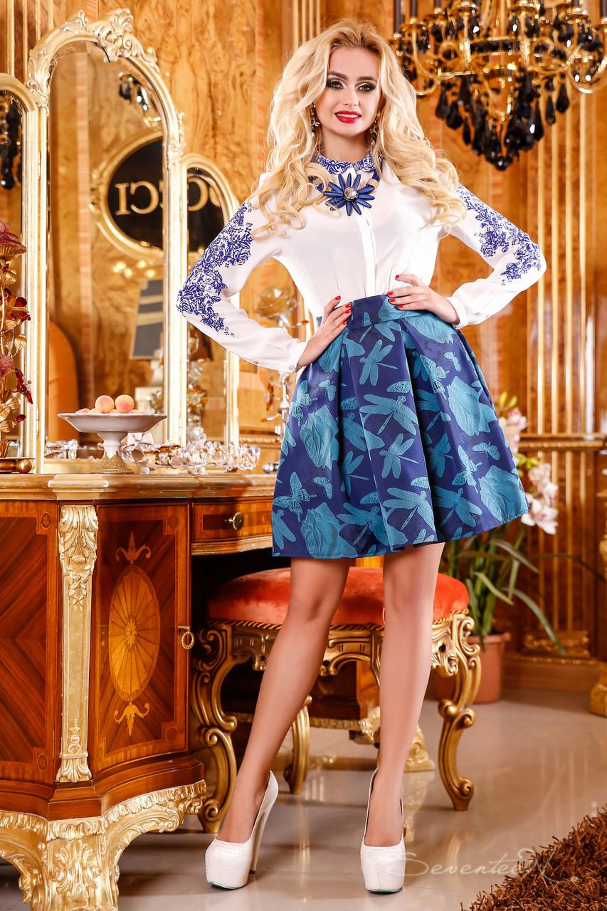 Яркая, нежная юбка со стильным орнаментом, жаккард, клеш, 42-46 размер, фото 1