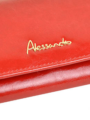 Кошелек женский кожаный красный на кнопке с монетницей внутри Alessandro Paoli W1-V, фото 2