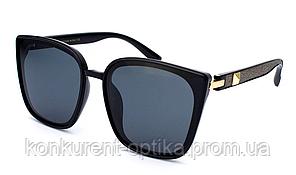 Стильные женские солнцезащитные крупные черные очки