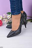 Туфли- лодочки каблук 10,5 см черные со стразами, фото 2