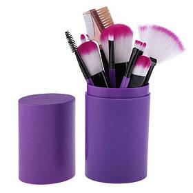 Набір кісточок для макіяжу в тубі 12 шт., фіолетові. Якісні пензлики для макіяжу.
