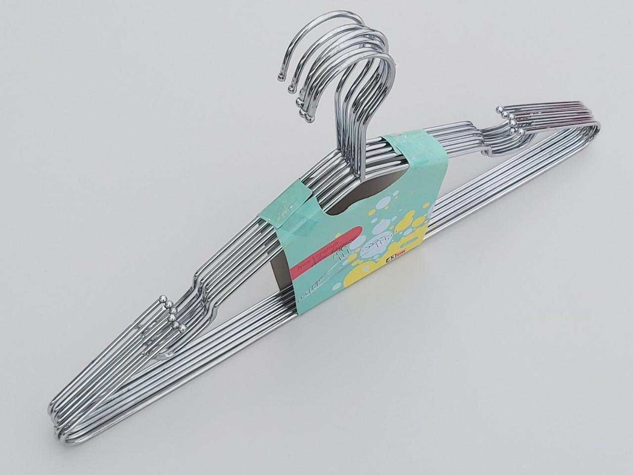 Плечики металлические хромированные с вырезами, длина 43 см, 6 штук в упаковке