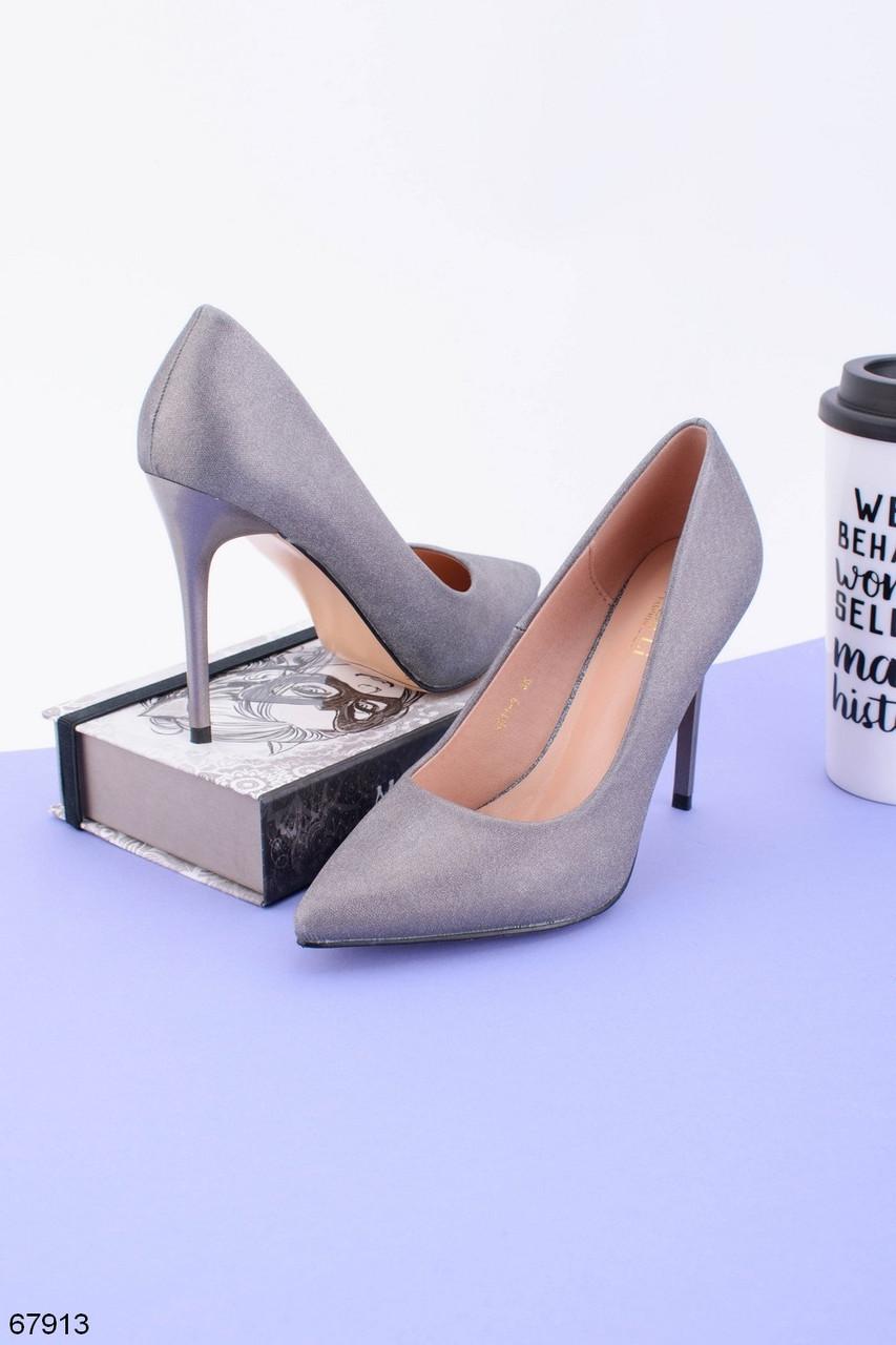 Женские туфли серые на каблуке 10,5 см эко-замша
