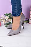 Женские туфли серые на каблуке 10,5 см эко-замша, фото 2