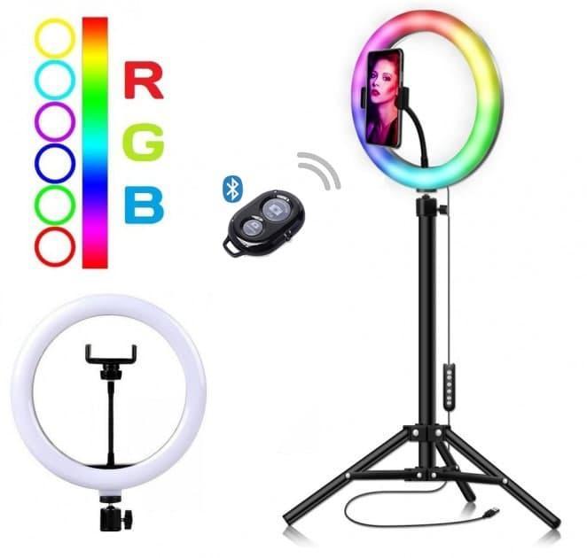 Кольцевая светодиодная RGB LED лампа MJ26 + штатив 2 м