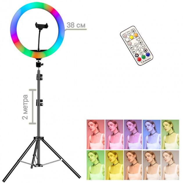 Кольцевая светодиодная RGB LED лампа MJ38 + штатив 2 м