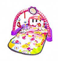 Многофункциональный детский музыкальный коврик с пианино Развивающий коврик для ребенка от 0 мес Розовый