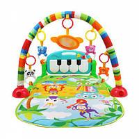 Музыкальный развивающий коврик с погремушками и пианино Игровой коврик для ребенка от 0 мес для младенца