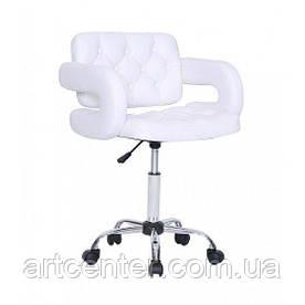 Косметичне крісло Jessy, на колесах, регулюється по висоті, кожзам білий