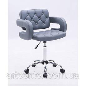 Косметичне крісло Jessy, на колесах, регулюється по висоті, кожзам сірий