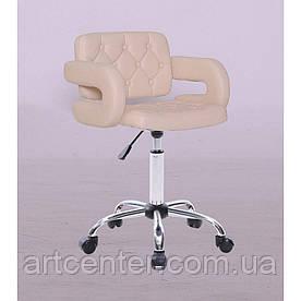Косметичне крісло Jessy, на колесах, регулюється по висоті, кожзам бежевий