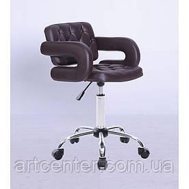 Косметичне крісло Jessy, на колесах, регулюється по висоті, кожзам коричневий