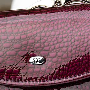 Шкіряний гаманець жіночий маленький лаковий на кнопці фіолетовий Sergio Torretti WS-11, фото 2