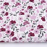 """Клапоть тканини """"Бордові квіточки"""" на білому тлі №3029а, розмір 22*160 см, фото 2"""