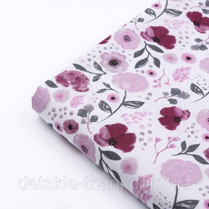 """Клапоть тканини """"Бордові квіточки"""" на білому тлі №3029а, розмір 22*160 см"""