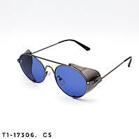Солнцезащитные очки в стиле Стимпанк. Защита UV400. Цвет синий